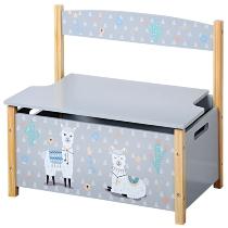 Kinder-Sitzbank, grau - Motiv: Alpaka