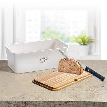 Brotbox mit Schneidebrett, weiß