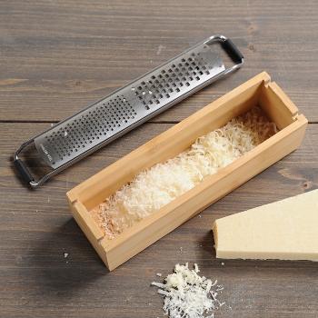 Parmesanreibe mit Behälter, Bambus