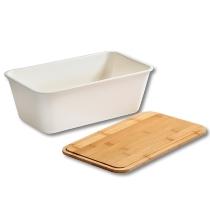 Brotbox mit Schneidebrett weiß