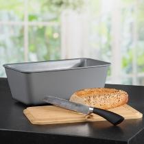 Brotbox mit Schneidebrett grau