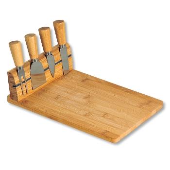 Käseschneidebrett mit Besteck, Bambus