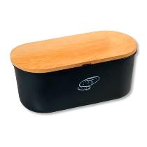 Brotbox mit Schneidebrett, schwarz