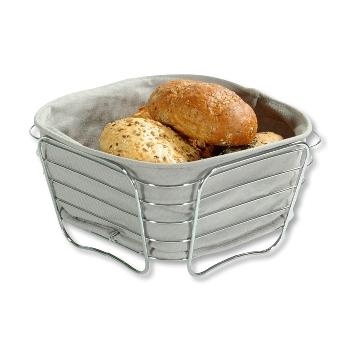 Brot- und Obstkorb, verchromt - grau