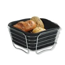 Brot- und Obstkorb, verchromt - schwarz